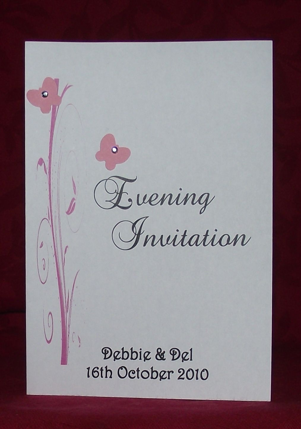 Wedding invitation Stationery Personalised Butterfly Scroll diamonte ...